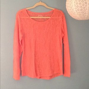 Coral Tissue Long Sleeve Top